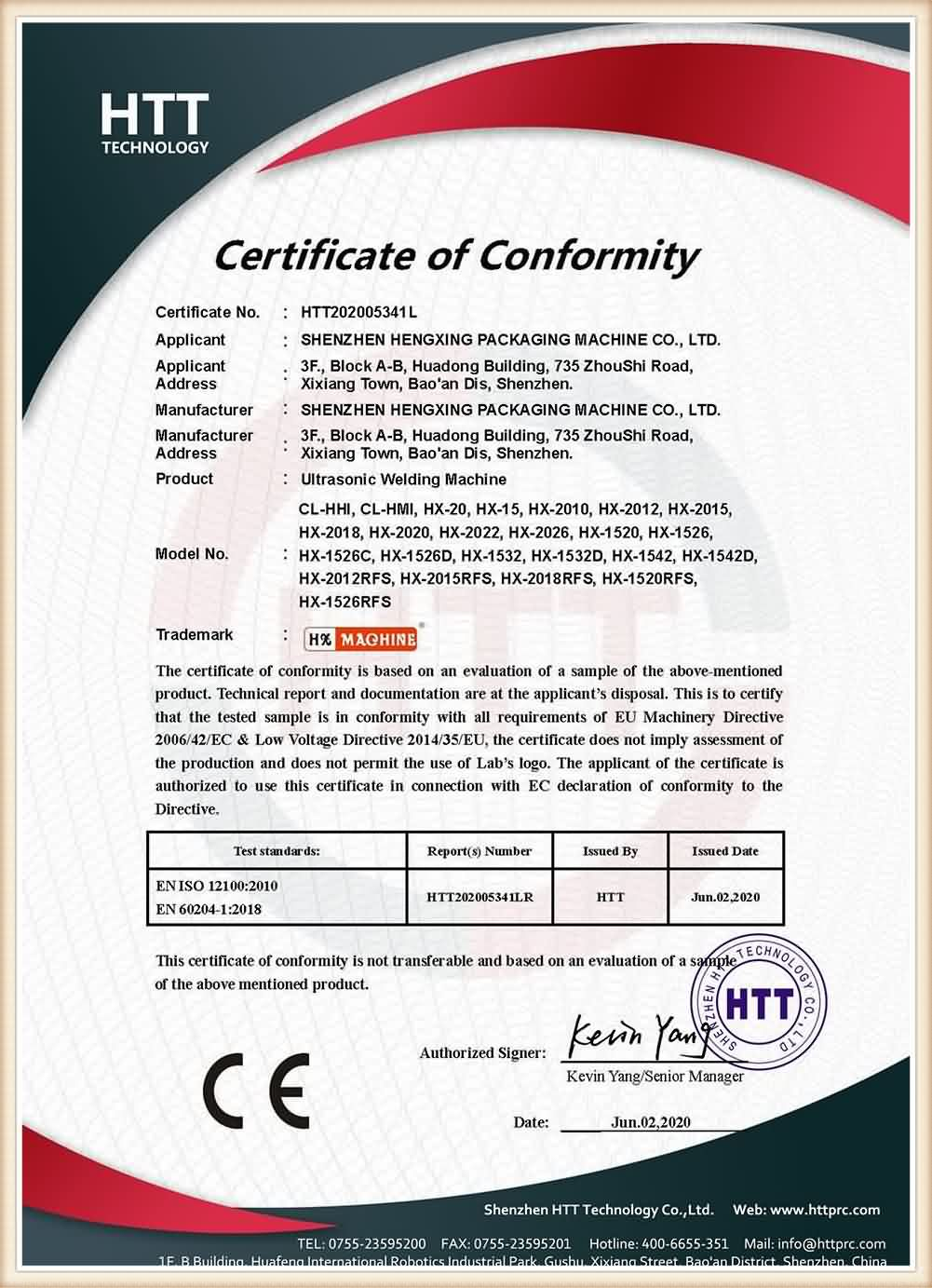 Certificate of Conformity-Ultrasonic Welding Machine
